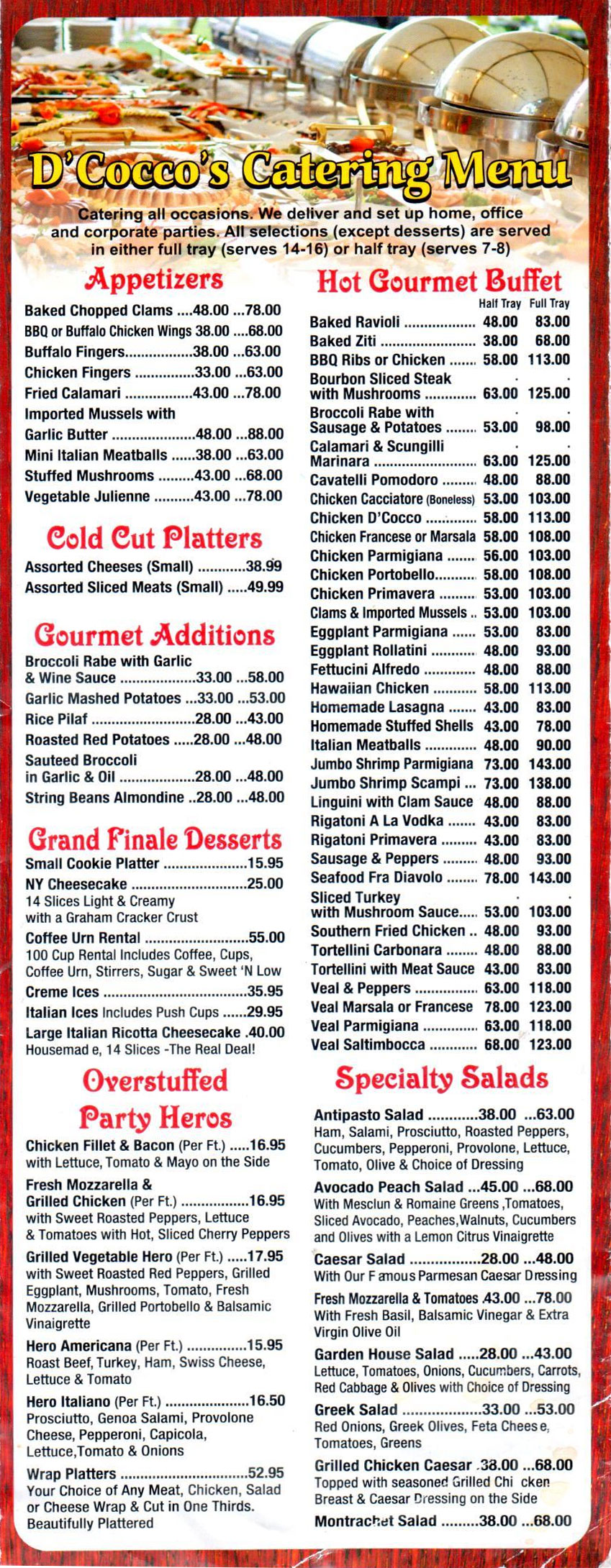 Catering Menu from D'Cocco's Pizza & Italian Restaurant